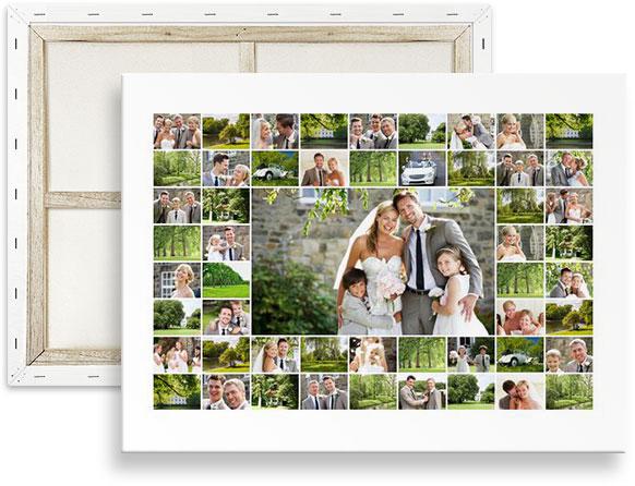 collage 50 fotos sobre lienzo