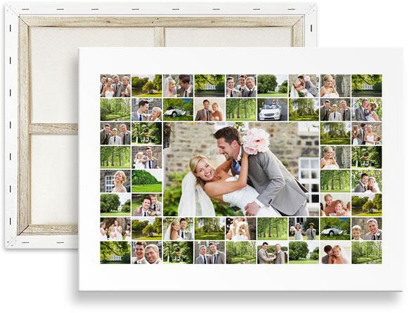 collage muchas fotos sobre lienzo