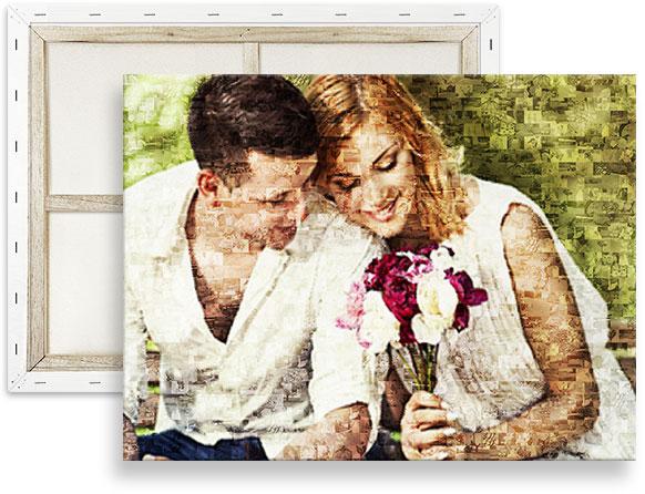 mosaico fotos sobre lienzo